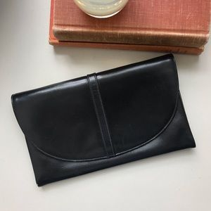 Vintage black Italian leather clutch